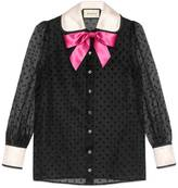 Gucci Taffeta star flock shirt with bow