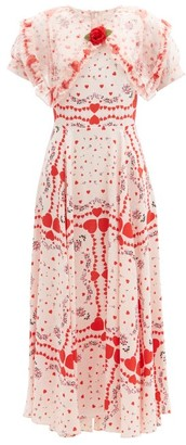 Rodarte Organza-collar Silk-satin Gown - Red White