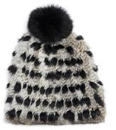 Diane von Furstenberg Graphic Print Pompom Rabbit Fur Hat