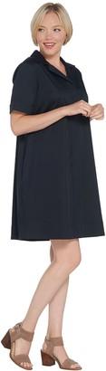 Martha Stewart Stretch Sateen Notch Collar Dress with Pockets