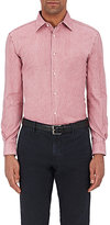 Piattelli MEN'S WASHED COTTON OXFORD-CLOTH SHIRT-RED SIZE S