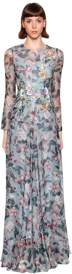 Antonio Marras Floral Printed Silk Crepe De Chine Gown