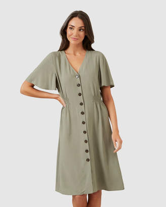 French Connection Flutter Sleeve Midi Dress