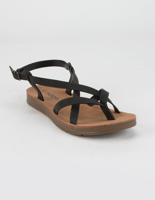 Soda Sunglasses Criss Cross Ankle Womens Black Sandals