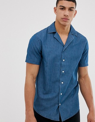 Solid slim fit shirt revere collar chambray-Blue