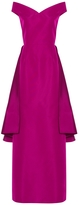 Christian Siriano Off-The-Shoulder Ruffled Back Gown
