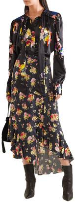 Preen Line Sibyll Floral-print Crepe De Chine Midi Wrap Skirt