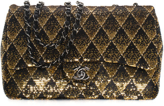 Chanel 2017 Gold Sequins & Leather Flap Bag