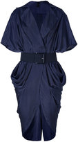 Donna Karan Ink Blue Belted Cocoon Dress