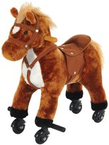 Qaba Kids Walking Pony Ride on Horse Rocking Toy Wheels & Footrest Neigh Sound