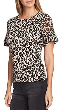 Vince Camuto Leopard Flutter-Sleeve Top