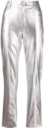 Karl Lagerfeld Paris Foil-Effect Straight-Leg Trousers