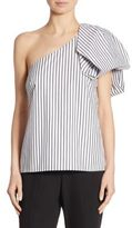 Scripted Bow One-Shoulder Striped Top