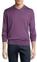 Peter Millar Collection Merino-Silk V-Neck Sweater, Viola
