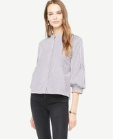 Ann Taylor Petite Striped Poplin Puff Sleeve Shirt