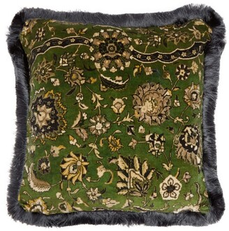 House of Hackney Zanjan Floral-print Cotton-velvet Cushion - Green Multi