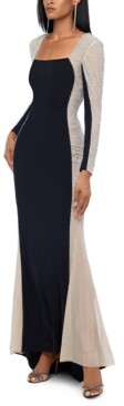 Xscape Evenings Petite Embellished Colorblocked Gown