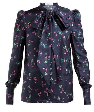 Racil Agata Pussy-bow Silk Blouse - Womens - Navy Multi