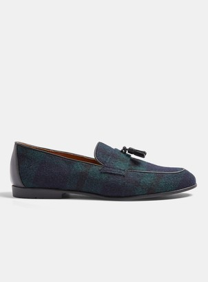 Topman Navy Tassel Piper Check Loafers