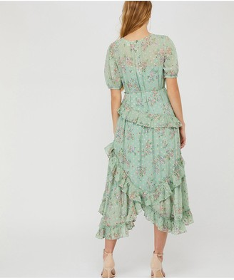 Monsoon Sada Printed Lurex Frill Dress - Green