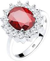 Elli Cocktail Ring-Women's Engagement Wedding Ring Set 925 Silver Cushion Brilliant Cut Cubic Zirconia Red Size 58 (18.5) - 0605932314_58