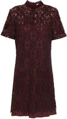 Sandro Pleated Corded Lace Mini Dress