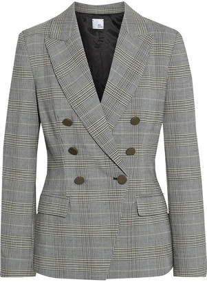 Iris & Ink Eva Double-breasted Prince Of Wales Checked Woven Blazer