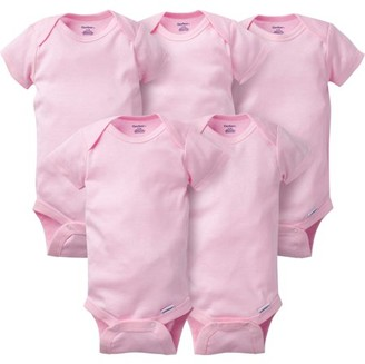 Gerber Newborn Baby Girl Short Sleeve Crafting Onesies Bodysuits, 5-pack