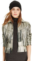 Polo Ralph Lauren Fringe Metallic Leather Jacket