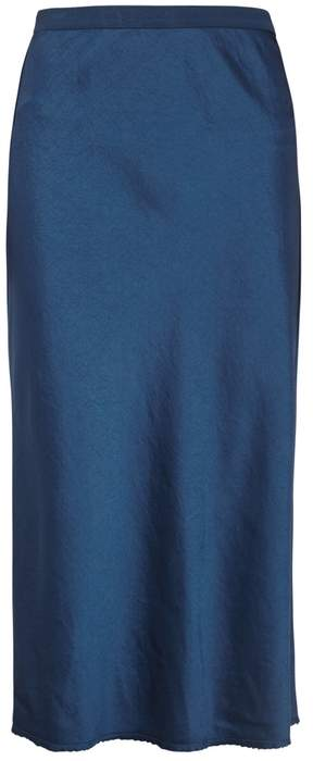 Alexander Wang Dark Blue Satin Midi Skirt