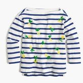 J.Crew Girls' striped T-shirt with sequin pineapples