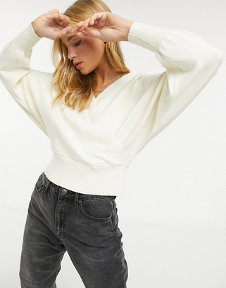 Y.A.S wrap jumper with batwing sleeve in cream