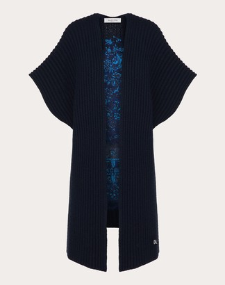 Valentino Embroidered Cashmere Wool Poncho Women Navy Virgin Wool 70%, Cashmere 30% L