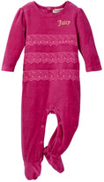 Juicy Couture Lace Trim Velour Footie (Baby Girls)