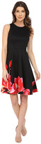 Maggy London Placed Bloom Printed Scuba Fit and Flare Dress