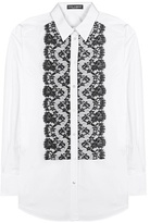 Dolce & Gabbana Lace Panelled Cotton-blend Blouse
