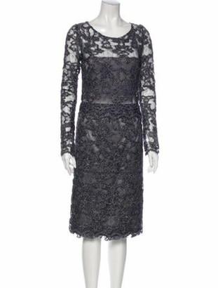 Luisa Beccaria Lace Pattern Midi Length Dress Blue