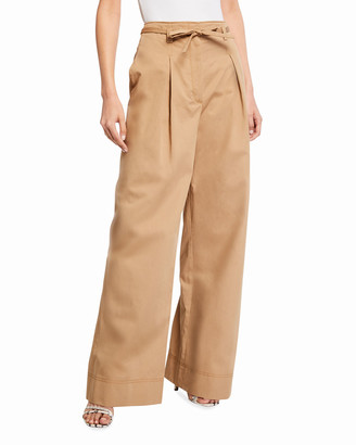 Tory Burch Wide-Leg Cotton Twill Trousers