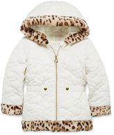 Asstd National Brand Pistachio Heart Quilted Animal-Print Jacket - Preschool Girls 4-6x