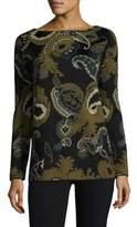 Lafayette 148 New York Fine Gauge Merino Paisley Jacquard Sweater