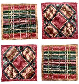 Sudha Pennathur Plaid Beaded Hand Embroidered 4-Piece Coaster Set