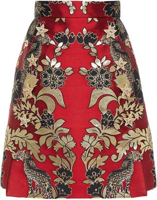 Dolce & Gabbana Pleated Metallic Jacquard Mini Skirt