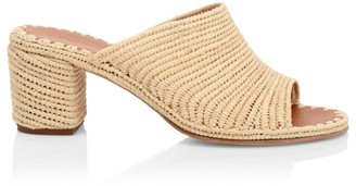Carrie Forbes Rama Raffia Straw Block Heel Sandals
