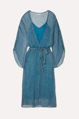 Cloe Cassandro - Fifi Belted Printed Silk-crepon Midi Dress - Blue