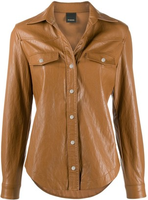Pinko Faux-Leather Slim-Fit Shirt