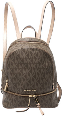 Michael Kors Brown/Beige Signature Coated Canvas Medium Rhea Backpack