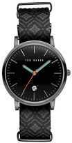 Ted Baker Smart Casual Embroidered Leather Strap Watch