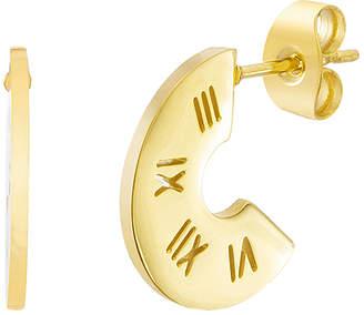 Bliss Women's Earrings Yellow - Goldtone Roman Numeral Hoop Earrings