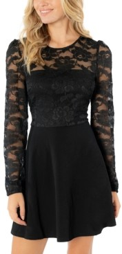 Speechless Juniors' Lace-Bodice Fit & Flare Dress