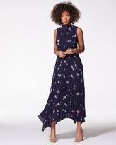 Vince Camuto Bud-print Pleated Maxi Dress